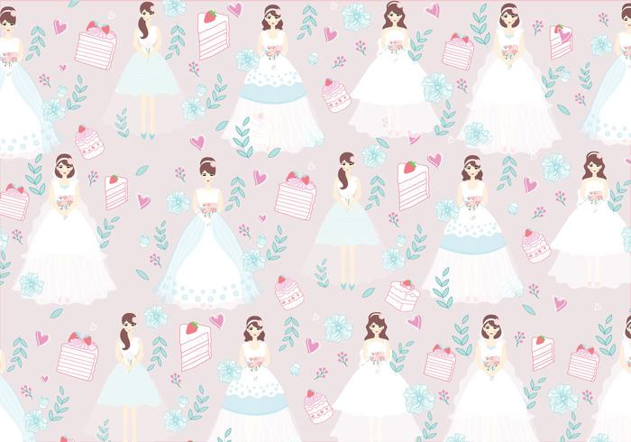 Bride and Bridesmaid Pattern Vector