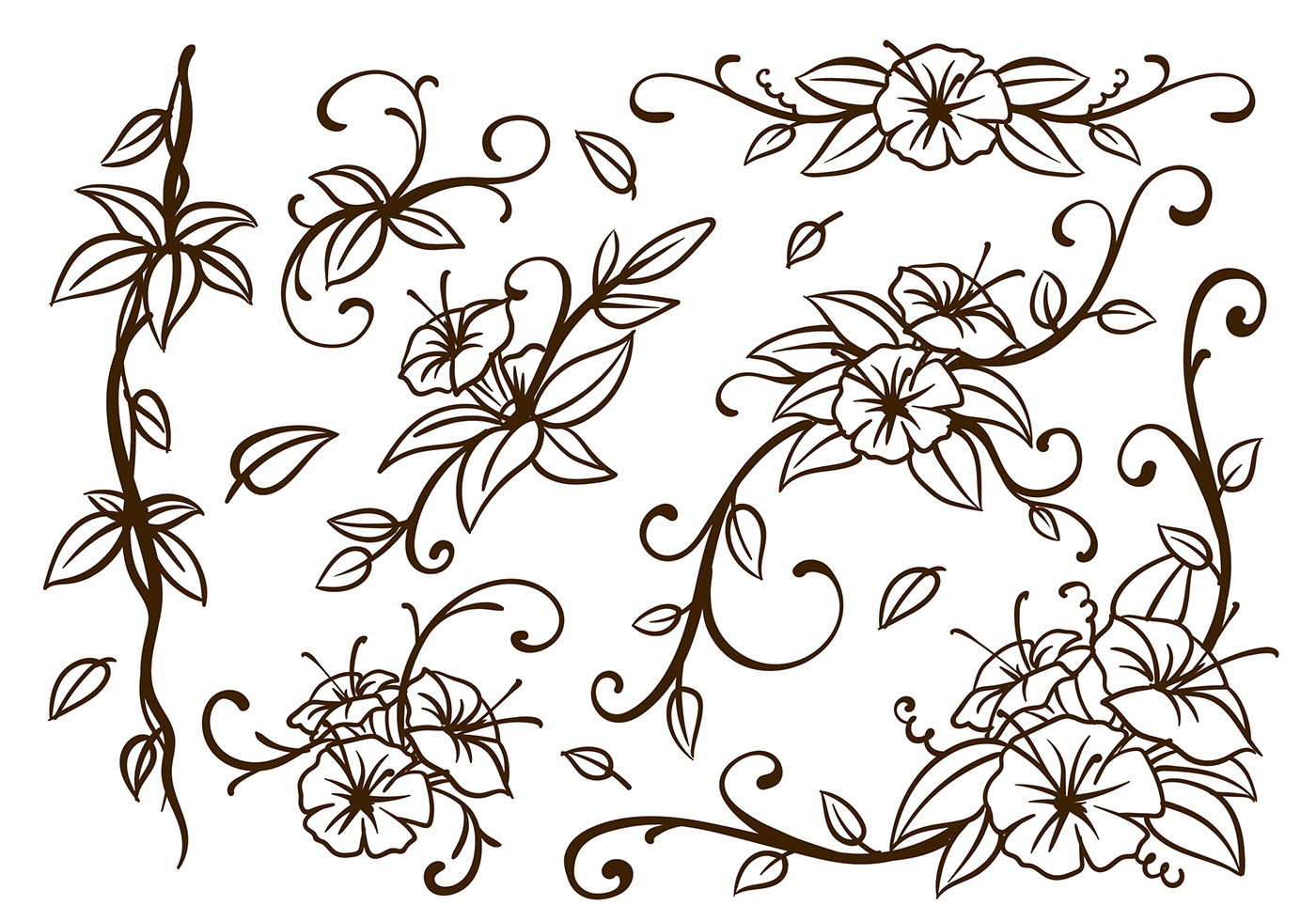 Decorative Flowers And & Swirls Vector Images (over 44 )