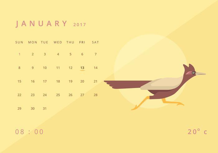Roadrunner Kalender Illustratie Sjabloon vector