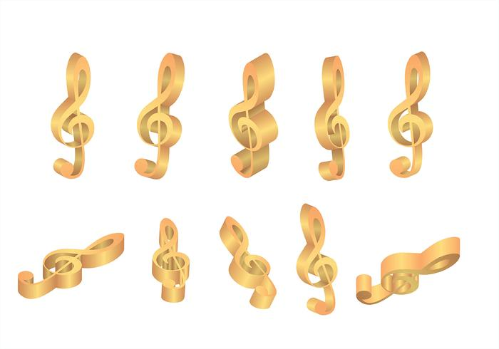 Violine Key Gold Icons Vektoren