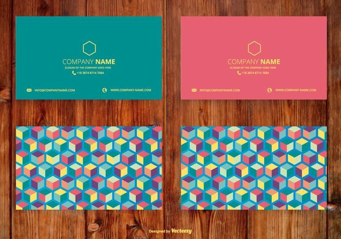 Abstract Cubes Name Card Set