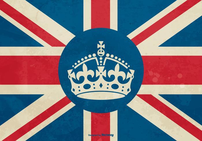 Corona Bristish en la ilustración de la bandera