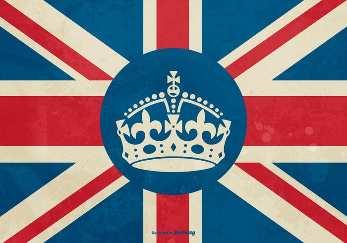 Bristish Crown on Flag Illustration