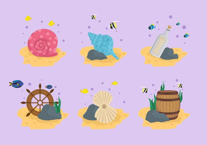 Seabed treasure stuff vector illustration