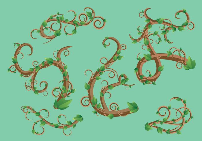 Liana green leaf vector pack