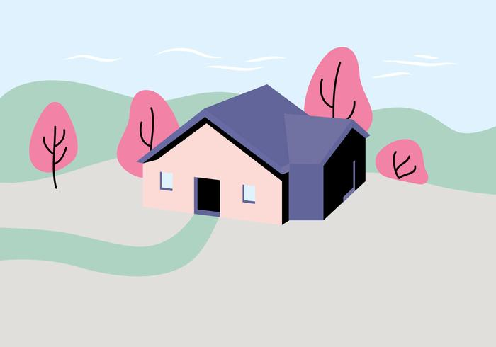 House Landscape Illustration