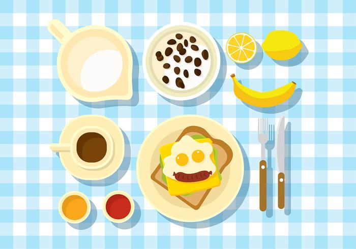 Breakfast Table Set Free Vector
