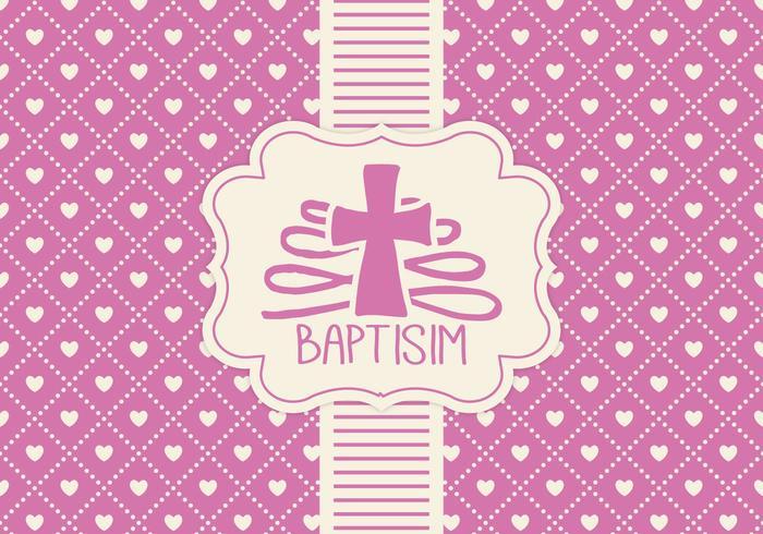 Modèle de carte rose baptisim