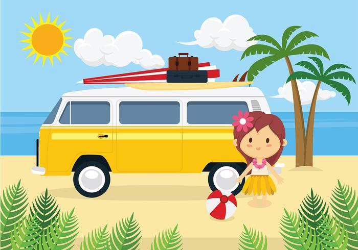 Hippie Bus Free Vector