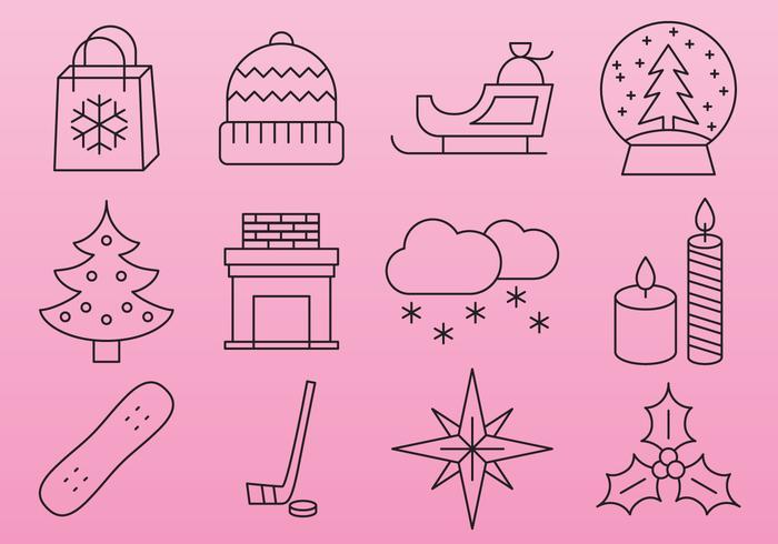 Icônes roses de ligne de Noël
