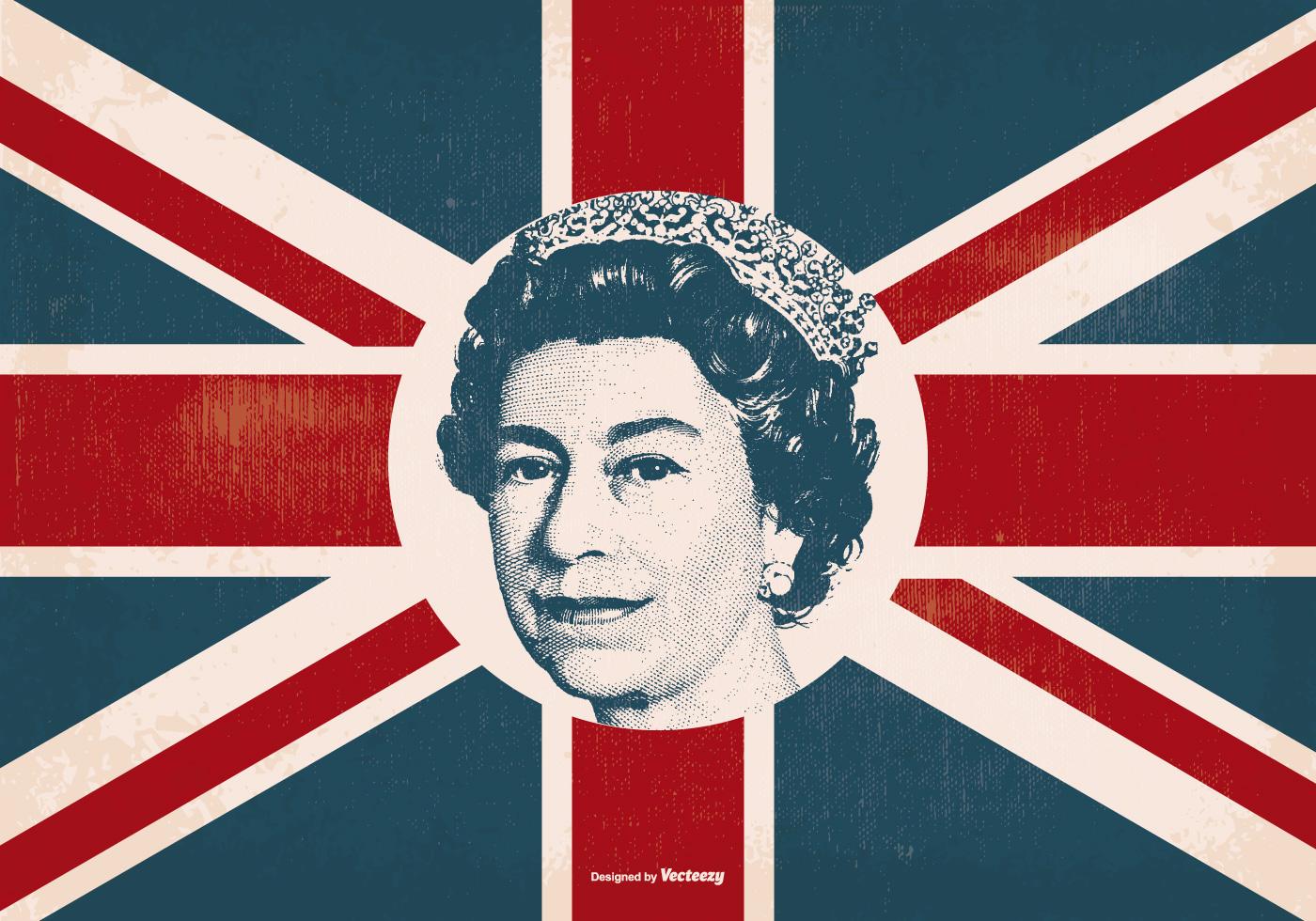 Queen Elizabeth on Britain Flag - Download Free Vector Art ...