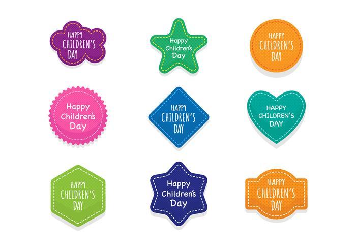 Free Children's Day Badges and Stickers Vector