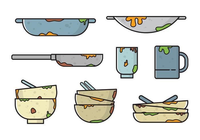 Free Dirty Dishes Vectors