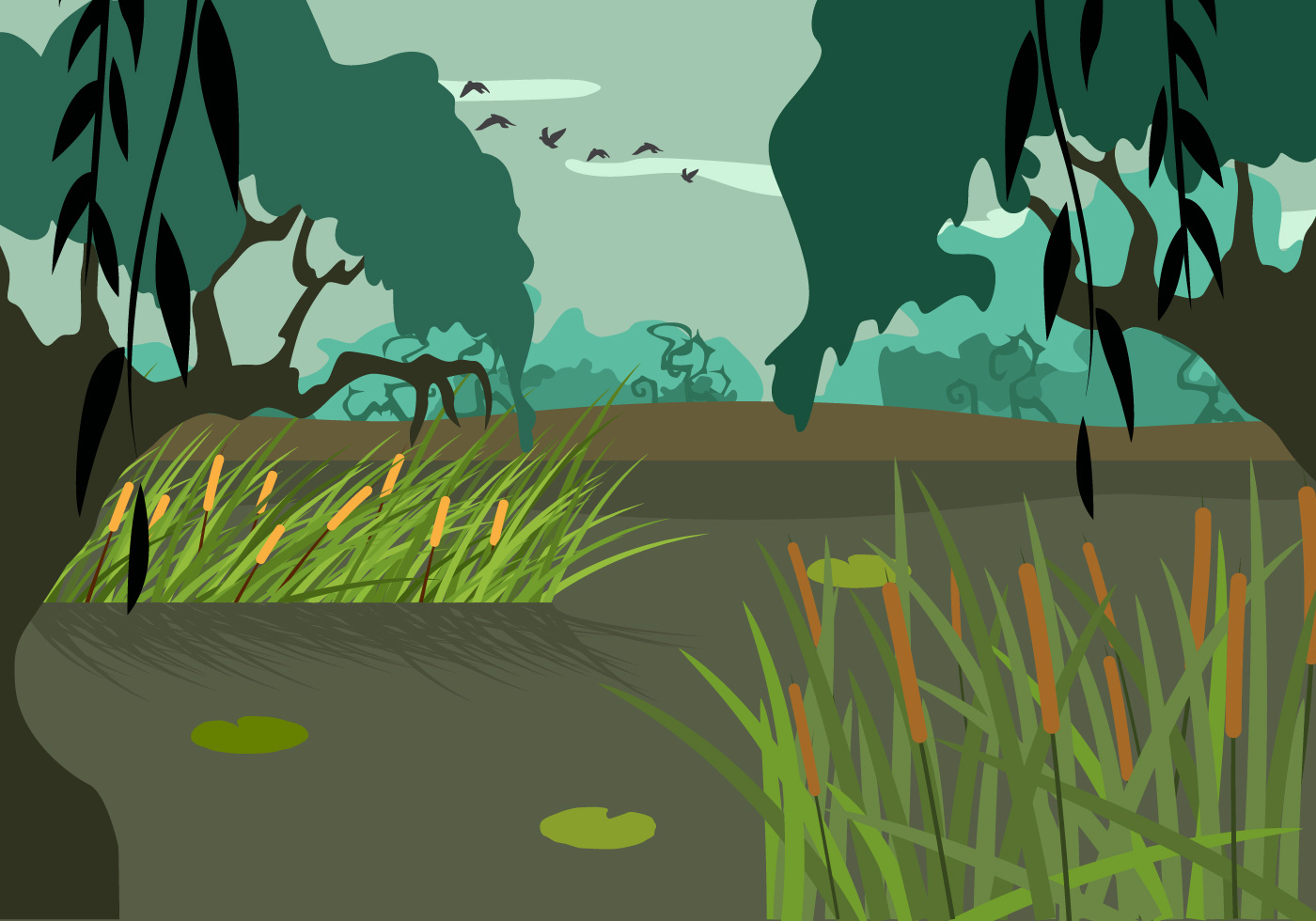 swamp illustration vector download free vector art  stock graphics   images cattails clipart free Clip Art Black and White Cattails
