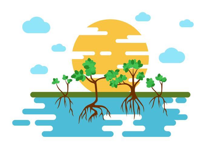 Free Mangrove Trees Illustration Vector