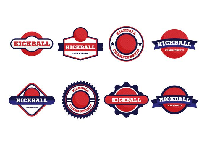 Free Kickball Vector Badges Collection