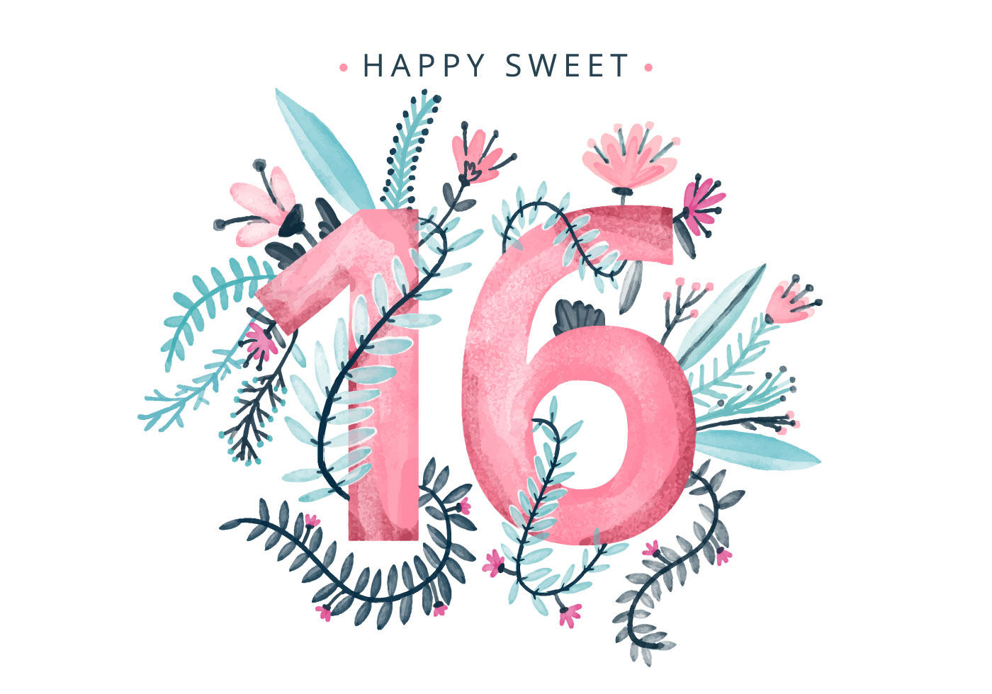 Sweet 16 Watercolor Background - Download Free Vector Art ...
