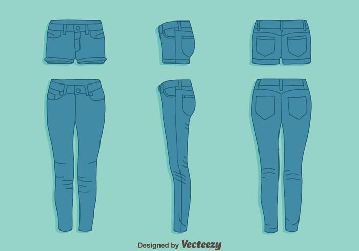 Jean azul y pantalones calientes conjunto de vectores