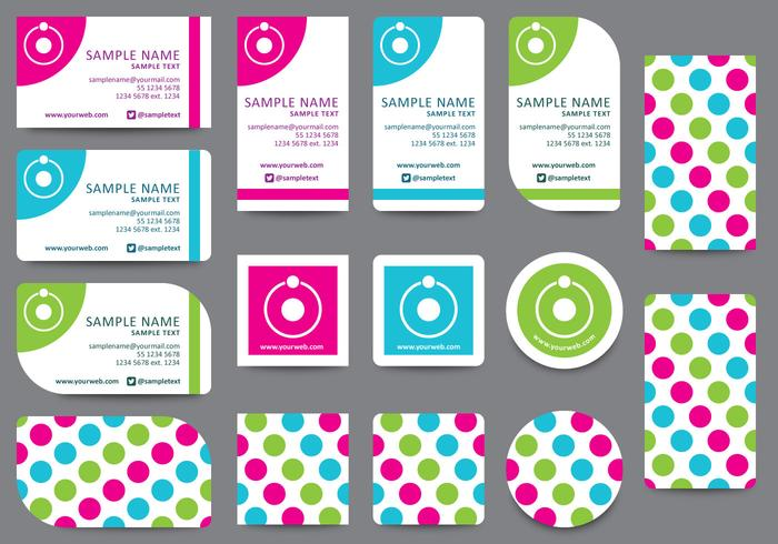 Dotted Name Card Templates vector