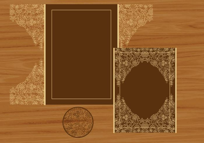 Wedding Invitation Or Greeting Card With Flower Laser Cut vector