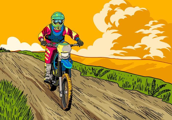 Vamos a montar bicicletas de tierra vector