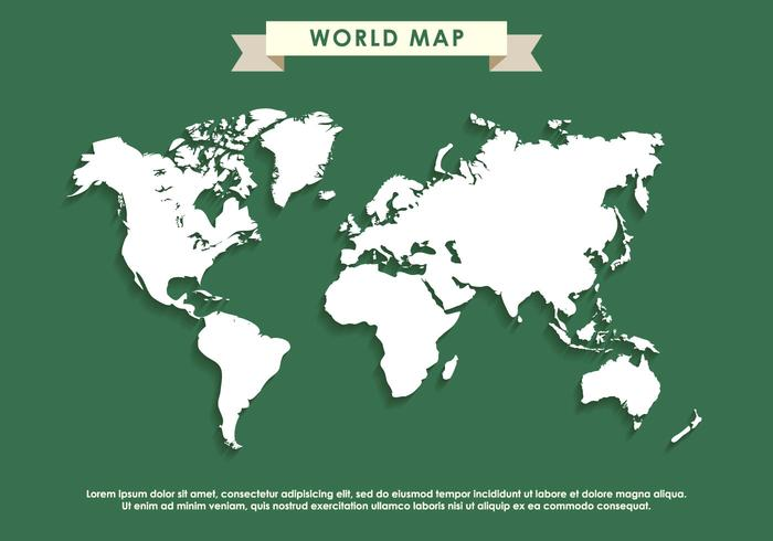 Charming Green World Map Vector