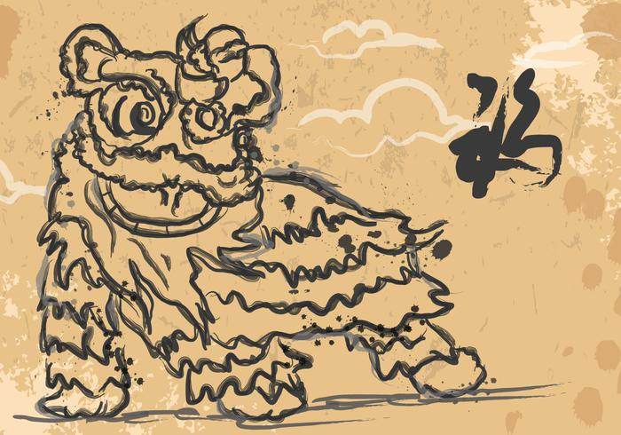 Lion Dancing Ink Illustration