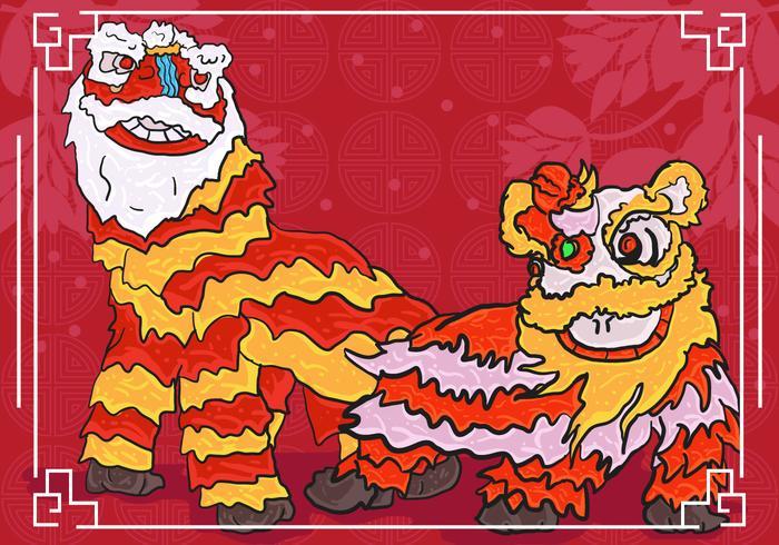 Lion Dance Background Illustration