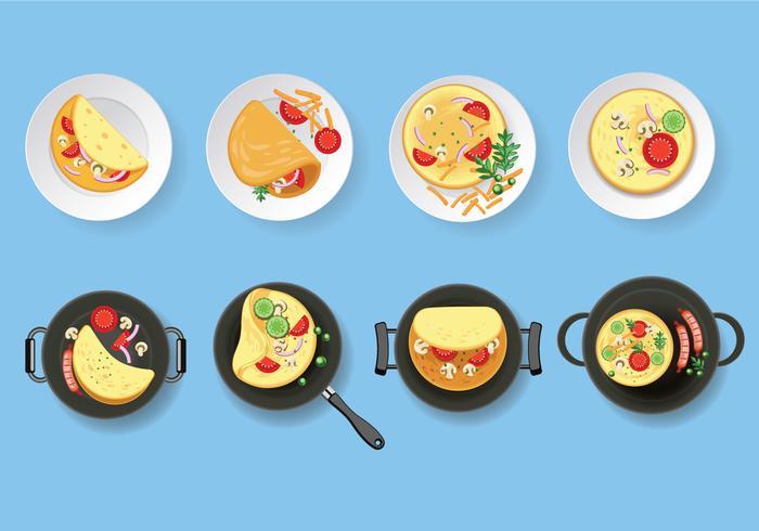 Omelet vector set illustration