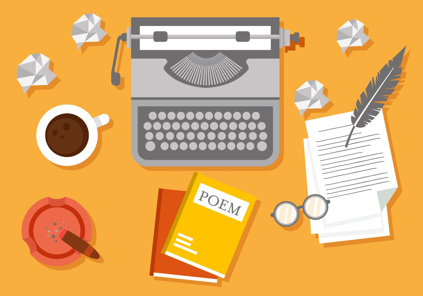 writer workspace vector illustration