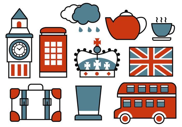 Vetor retro retro dos ícones britânicos