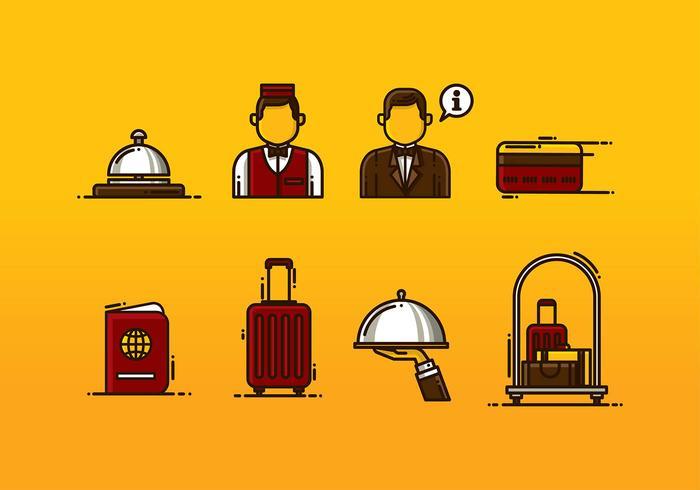 Concierge Icon Set Vector