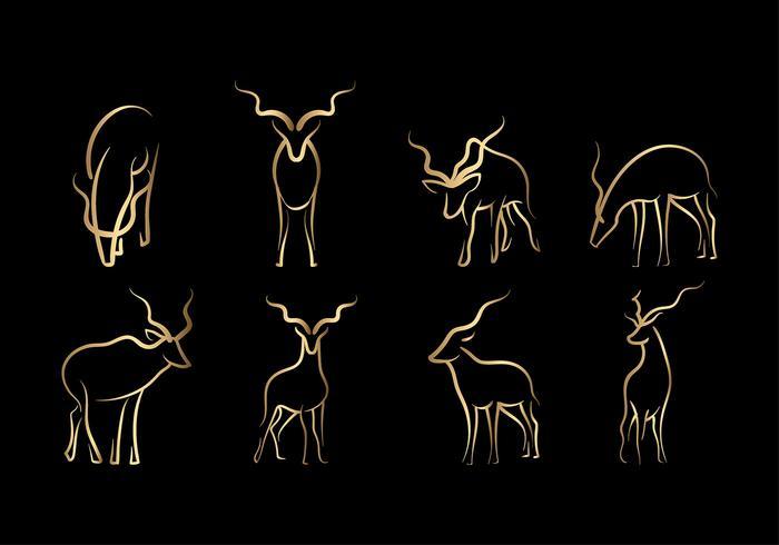 Gold Kudu Line Art Vector
