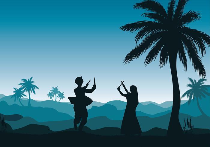 Garba dance silhouette vector livre
