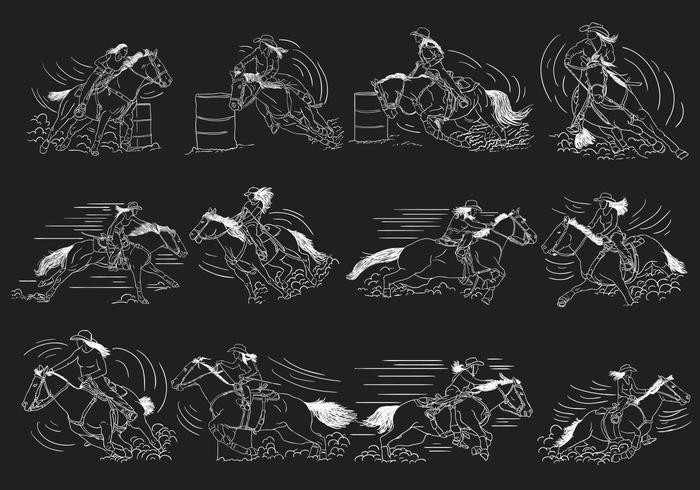Conjunto de ilustração de corrida de barril