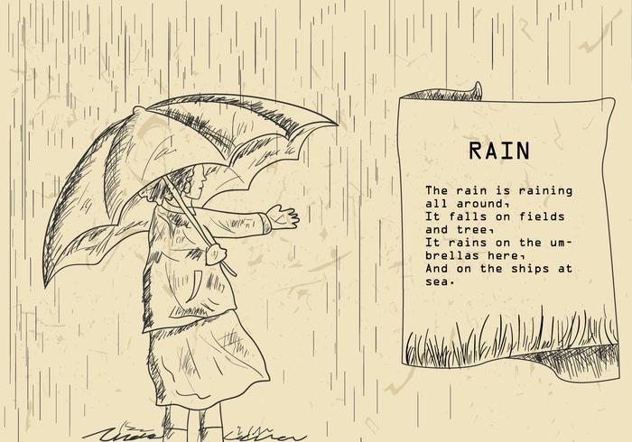 Ilustração do poema de chuva