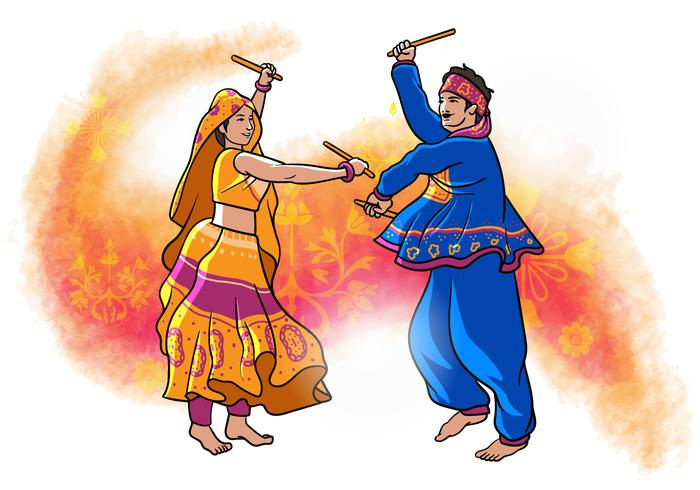 Garba danser vector