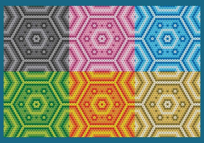 Colorful Huichol Hexagonal Patterns