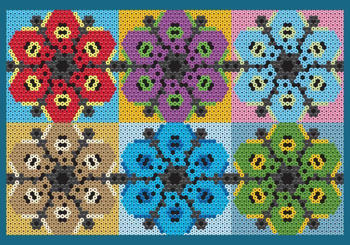 Padrões de flores quentes de Huichol