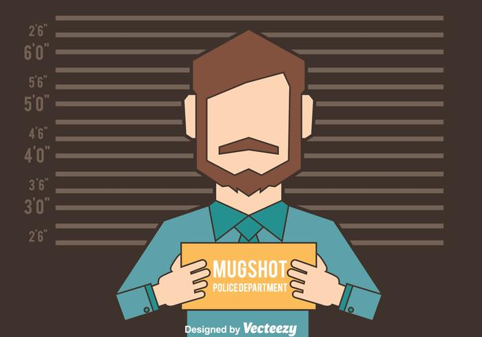 Mugshot Background With Man Figure Vector