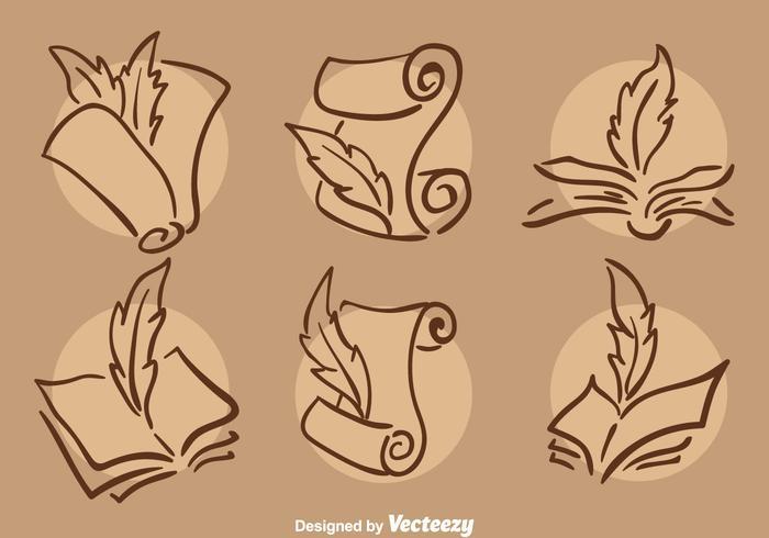 Ilustração clássica de ícones de poemas de escrita