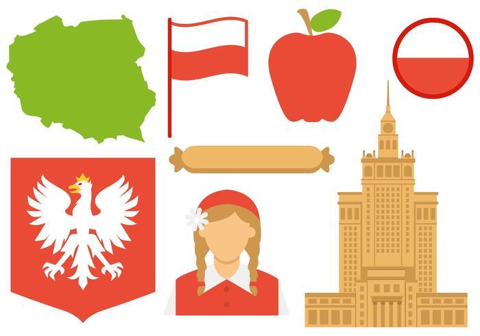 Libre Polonia Iconos Vector
