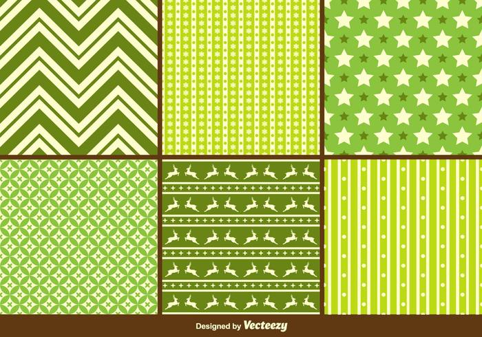 Green Christmas Vector Patterns