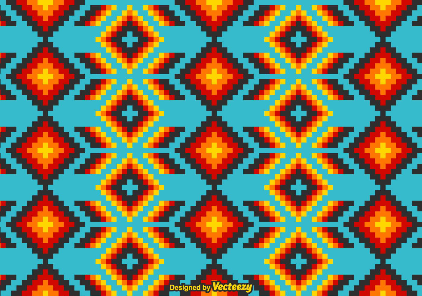 Mexican Huichol Vector Pattern