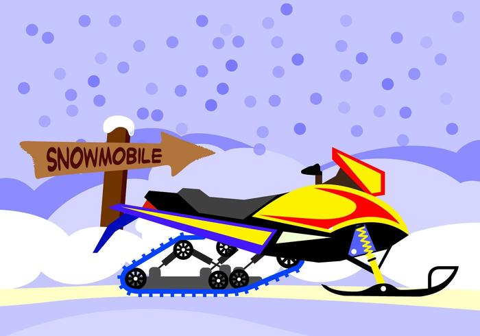 Illustration Snowmobile with snow background