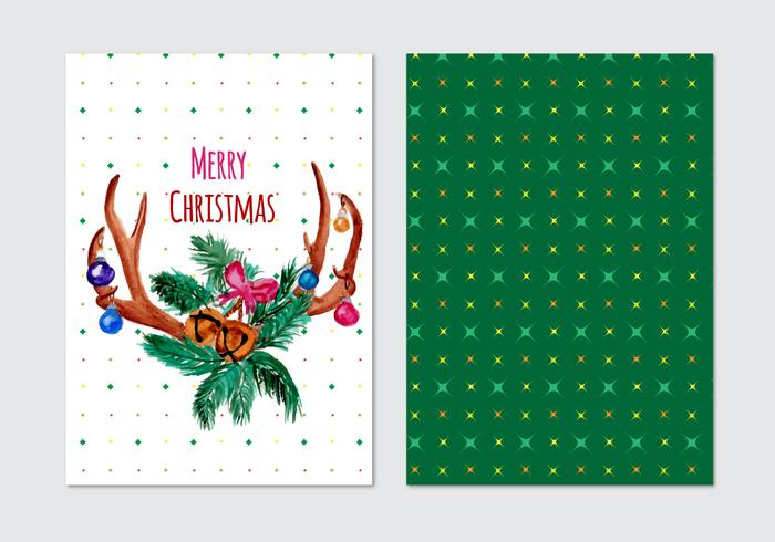 Card With Christmas Free Vector Horn Wreath