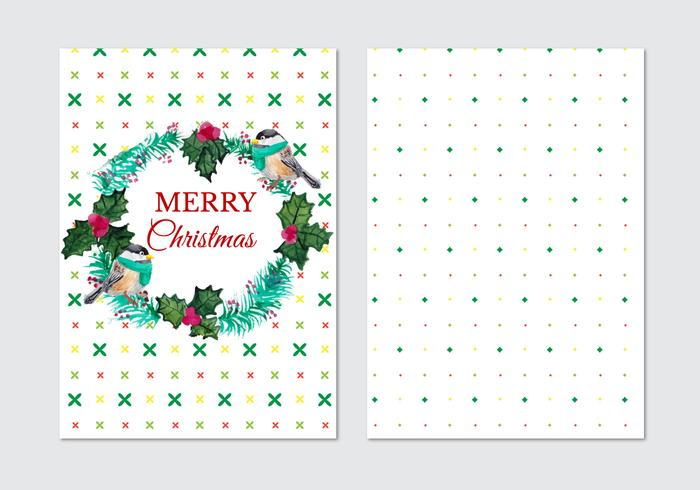 Card With Fir Wreath And Birds Free Vector