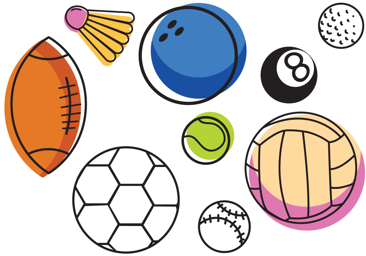 Sports Ball Vector Background Art Free Download: Free Sports Balls Vectors