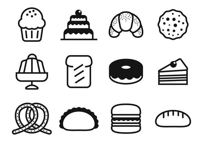 Free Bakery and Cake Icons Vector