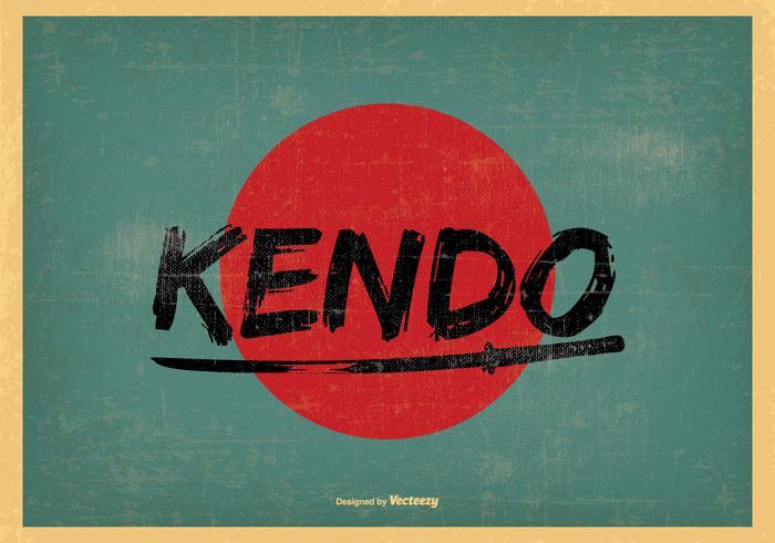 Retro Style Kendo Illustration